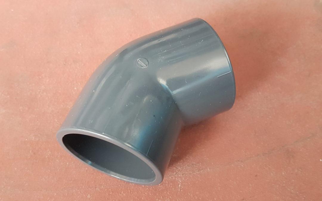 Gomito a 45° in PVC D.50